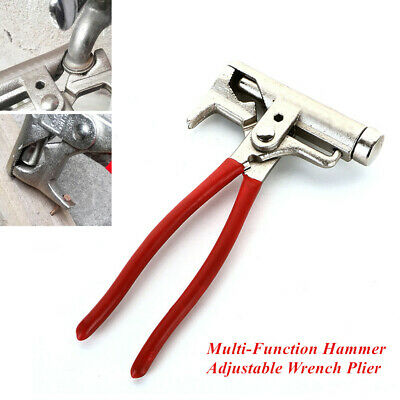 Multi-Function Hammer Adjustable Wrench Plier Pipes Spanner Tool Cut Wire& Nails