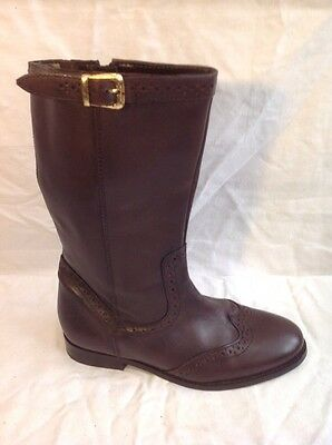 Girls Tu Brown Leather Boots Size 2