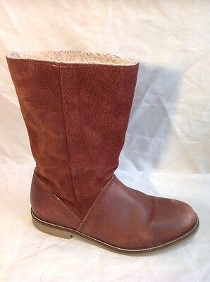 Zara Girls Brown Mid Calf Leather Boots Size 36