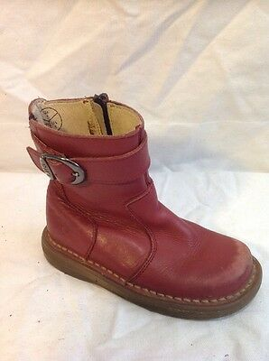 Girls Dr. Martens Red Leather Boots Size 7