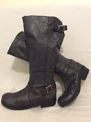 Fat Face Dark Grey Knee High Leather Boots Size 40