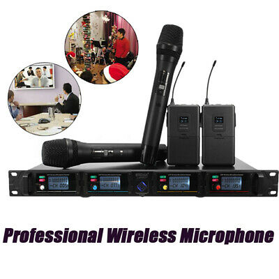 UHF 4 Channel LCD Wireless Microphone System Audio Handheld Mic Speaker Receiver