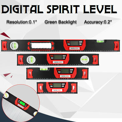 0~90° Green Backlight Digital Spirit Level Magnet Inclinometer 200/300/400/600MM