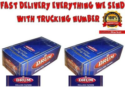 Drum Blue 2x FULL BOX 100 Booklets Smoking Rolling Papers Regular Size Original