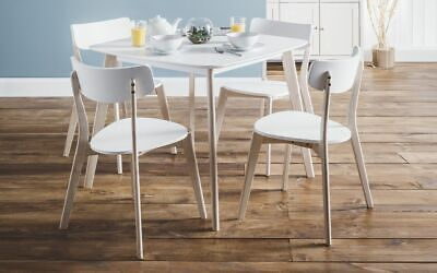 Casa Dining Set in White Top with Limed Oak Base - Dining Table with 4 Chairs