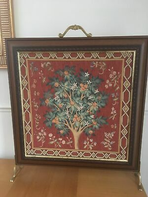 Vintage Fire Guard Screen Tapestry Wood Frame Red Tree Design Brass Handles