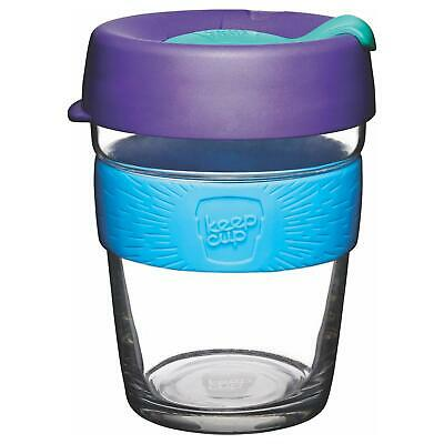 KeepCup Brew Reusuable Glass Coffee Cup Mug with Silicone Band, 340ml 12oz Tidal