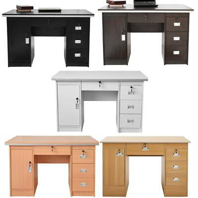120cm Large Computer Desk Writing PC Table Workstation with Cupboard & 3 Drawers
