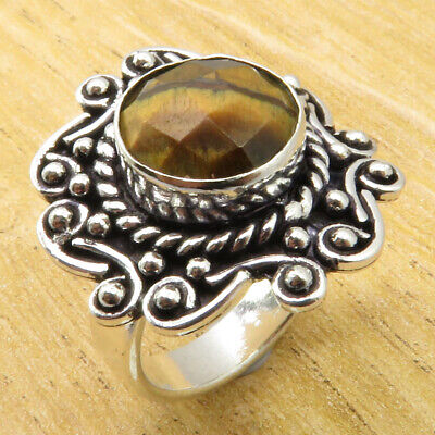 MENS Ring Size 7.75 Amazing Tiger's Eye ANTIQUE LOOK Silver Plated Jewelry NEW