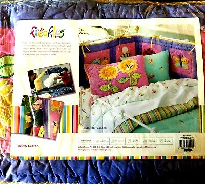 Cot Bumper, Butterfly Garden By Freckles, Free Postage.