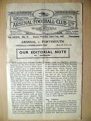 1947 Football Combination CUP- ARENAL v PORTSMOUTH, 7 April
