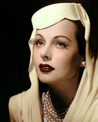 "HEDY LAMARR THE CONSPIRATORS 1944 ACTRESS 8x10"" HAND COLOR TINTED PHOTOGRAPH"