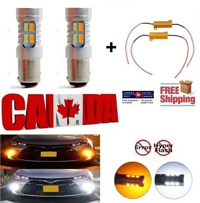 2X 1157 BAY15D Dual Color LED Switchback Turn Signal Light Bulb + Load Resistors