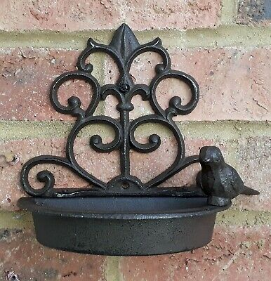 Wall Mounted Cast Iron Vintage Small Bird Bath Feeder Shabby Chic Garden New