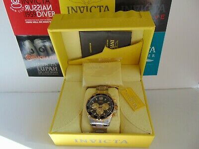 Invicta Specialty 45mm Chronograph GMT 18K Ion-Plated Gold Accents SS Watch!!!