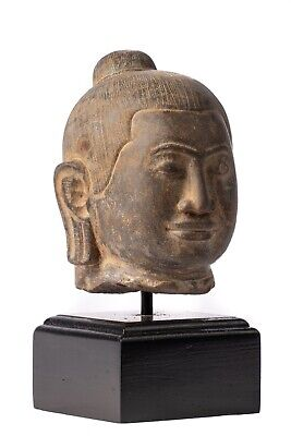 Antique Khmer Style Mounted Stone Jayavarman VII Head - 19cm/8""