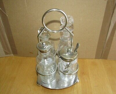 "Large 9"" tall Antique Nickel Silver Condiment Set with Caddy circa 1900-1920"