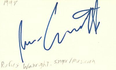 Rufus Wainwright Singer Musician Songwriter Music Signed Index Card JSA COA