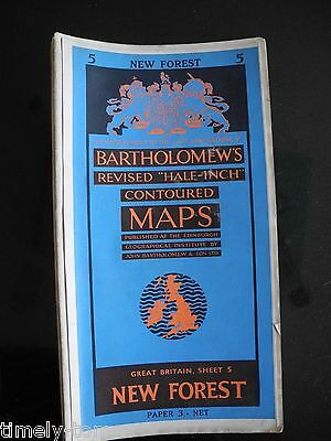 New Forest - Sheet 5 - Bartholomew's Revised Half Inch Contoured Map 1955