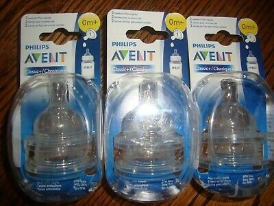 Philips AVENT BPA Classic+/classique+ Nipple 2-pack Size x3 0M+