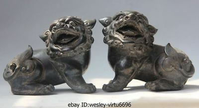 Chinese Bronze Copper Feng Shui Carved Lucky Animal Fu Foo Dog Lion Statue Pair