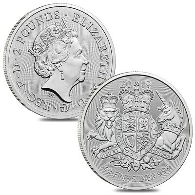 Lot of 2 - 2019 Great Britain 1 oz Silver Royal Arms Coin .999 Fine BU