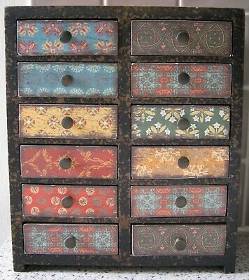 Small Multi-Colour Wooden Chest Of Drawers - Collectors/Trinket/Jewellery Box