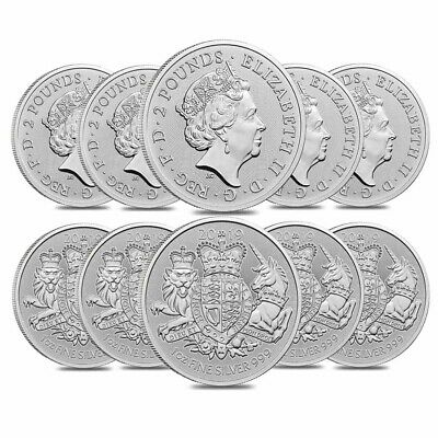 Lot of 10 - 2019 Great Britain 1 oz Silver Royal Arms Coin .999 Fine BU