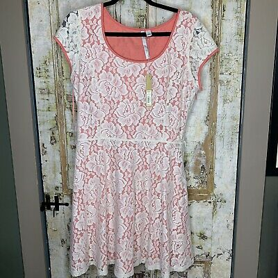 New LC Lauren Conrad Womens Skater Dress Size Large Lace Overlay Pink Coral BNWT