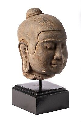 Antique Khmer Style Mounted Stone Jayavarman VII Head - 23cm/9""