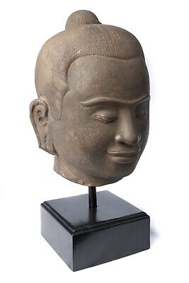 Antique Khmer Style Mounted Stone Jayavarman VII Head - 42cm/17""