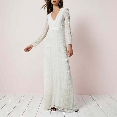 Ex River Island Cream Sequin Long Sleeve Maxi Dress Wedding Bridal RRP £250