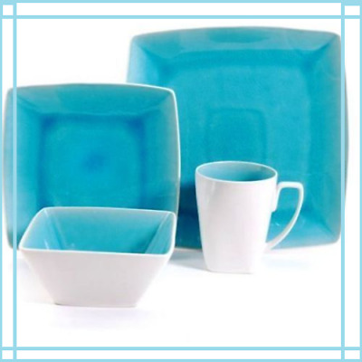 Gibson Dinnerware Stoneware Set 16 Piece Square Plates Bowls Cups Turquoise