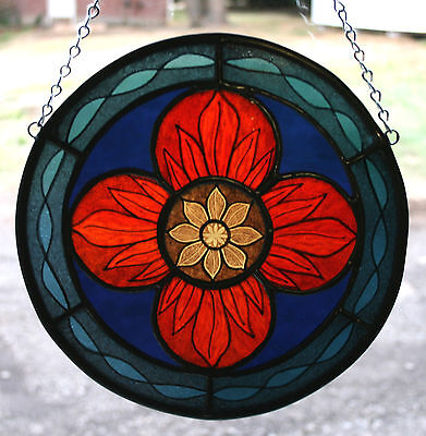 Stained Glass,Hand Painted,Kiln Fired Panel # 2000-04