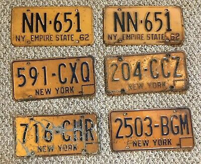 Six (6) NY New York Vintage License Plates One Set Empire State + Misc
