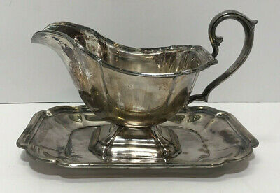 Vintage Chadwick International Silverplate Company Gravy Boat With Underplate