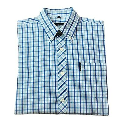 Ben Sherman Boys British Designer L/ Sleeve Blue Check Shirt Uk L  Rrp £35