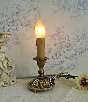 Beautiful French Antique Cast Brass Wee Willie Winkie Style Table Lamp 1126