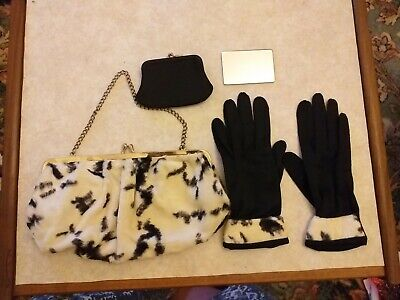 Vintage 1950s fur handbag with purse and matching gloves.
