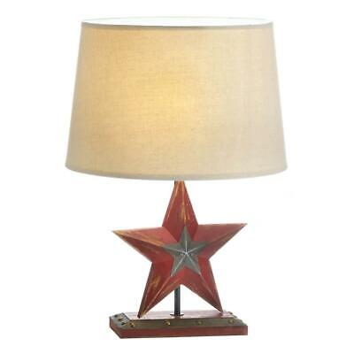 Farmhouse Red Star Table Lamp Wooden Base Neutral Fabric Shade Country Style