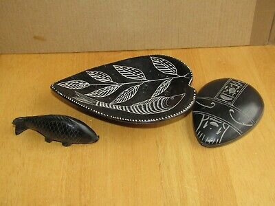 Egyptian black stone Scarab Beetle with hieroglyphs, Carved stone Dish & Fish