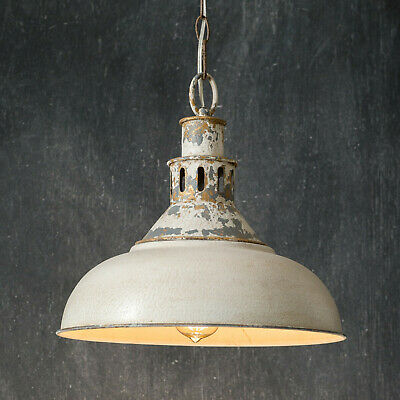 Distressed White Barn Pendant Light Hardwired Hanging Lamp w Canopy Stndrd Bulb