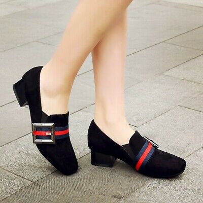 Loafers Ladies Square Toe Block Heels Slip On Pumps British Style Elastic Shoes