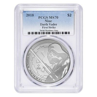 2018 1 oz Niue Silver $2 Star Wars Darth Vader PCGS MS 70 FS