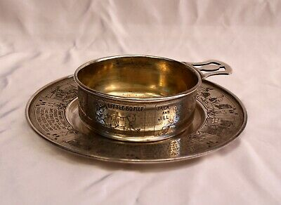 """Magnificent 1900'S 2 Pcs Sterling Silver Nursery Rhyne Cup & Saucer """"Must See"""""""