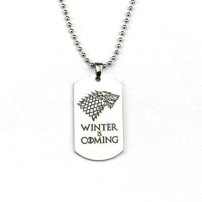 Game of Thrones Necklace House Stark Wolf Logo Metal Pendant Tag Necklaces Jewel