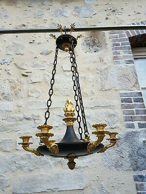Antique French, Rare Chandelier, Empire Period, Gilt Bronze, Early 19th Century