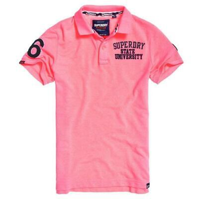 Superdry Classic Superstate Pique Polo Pink Fluro Grit