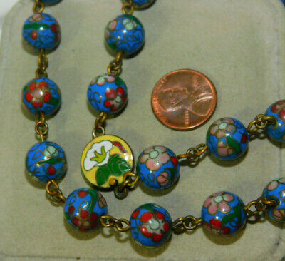 "Vtg Chinese Export 12 mm Cloisonne Blue Enamel Wired Bead 28"" Necklace 4b 106"