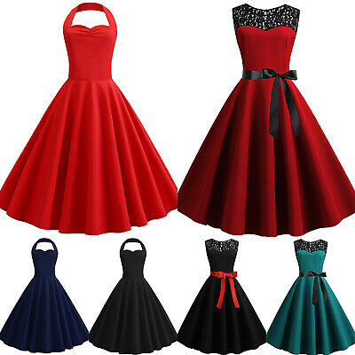 Womens 1950s 60s Vintage Rockabilly Retro Prom Evening Party Skater Swing Dress